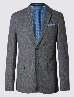 Однобортный пиджак слим из хлопка с добавлением льна Limited Edition T193760Q