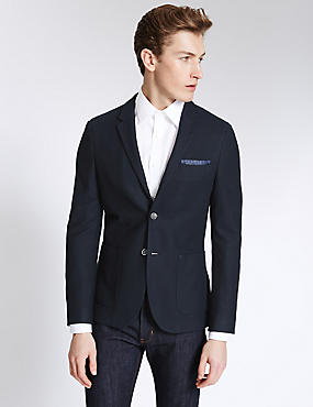 Cotton Blend Single Breasted 2 Button Jacket, NAVY, catlanding
