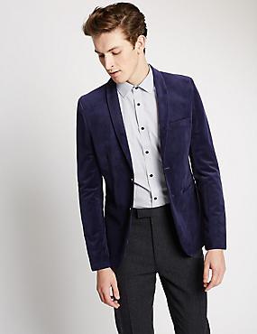 Modern Slim 2 Button Velvet Jacket, NAVY, catlanding