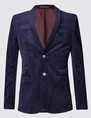 Приталенный велюровый пиджак с 2 пуговицами и технологией Buttonsafe™ Limited Edition T193762Q