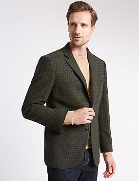 Single Breasted 2 Button Checked Jacket with Buttonsafe™, GREEN, catlanding