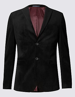 Slim Fit Single Breasted 2 Button Velvet Jacket, BLACK, catlanding