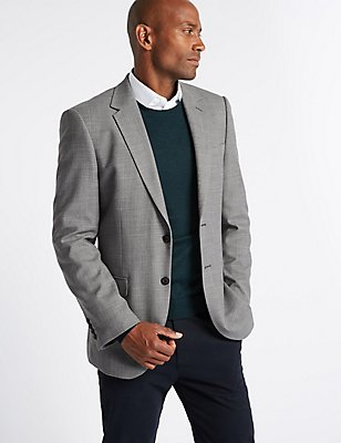 Grey Textured Regular Fit Jacket, GREY, catlanding