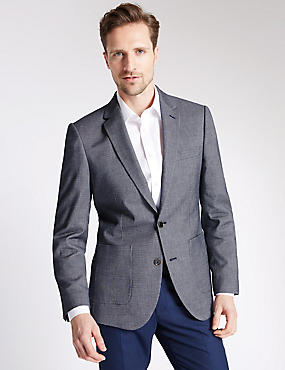 Blue Textured Tailored Fit Jacket, NAVY MIX, catlanding