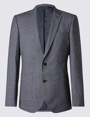 Слегка приталенный пиджак из смесового волокна с хлопком M&S Collection T193768