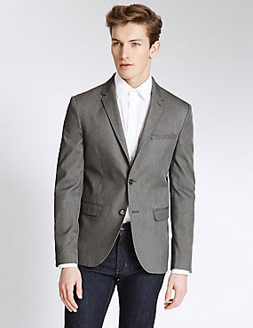 Textured Single Breasted 2 Button Jacket, GREY MIX, catlanding