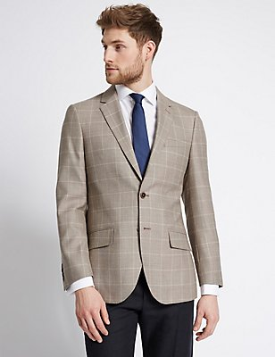Wool Rich Checked Regular Fit Jacket, BISCUIT, catlanding