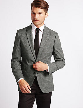 2 Button Mouline Jacket, GREY, catlanding