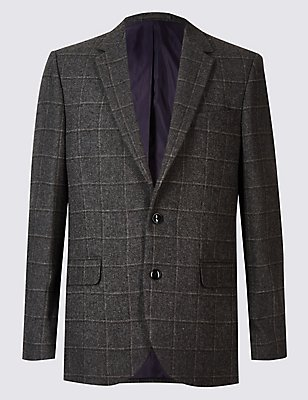 Wool Blend Checked Jacket, CHARCOAL, catlanding