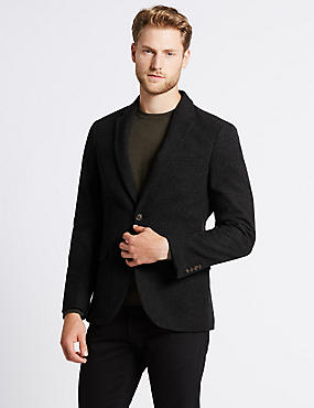 Charcoal Italian Wool Fabric Jacket, CHARCOAL, catlanding