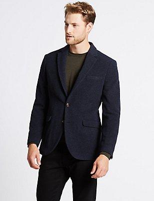 Marineblaue Jacke mit hohem Anteil von italienischer Wolle, MARINEBLAU, catlanding