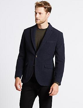 Wool Rich Single Breasted Jacket, NAVY, catlanding