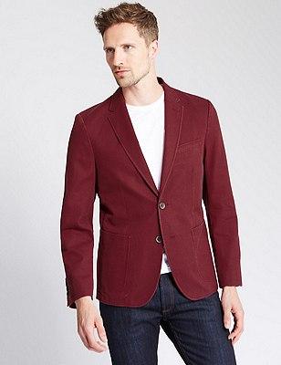 Pure Cotton Tailored Fit 2 Button Jacket, , catlanding