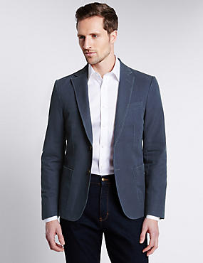 Pure Cotton Tailored Fit 2 Button Jacket, NAVY, catlanding