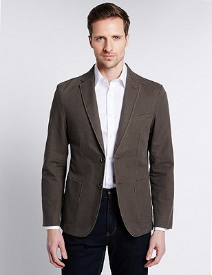 Pure Cotton Tailored Fit 2 Button Jacket, DARK KHAKI, catlanding