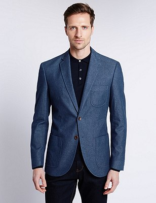 Pure Cotton Notch Lapel Chambray 2 Button Jacket, BLUE, catlanding