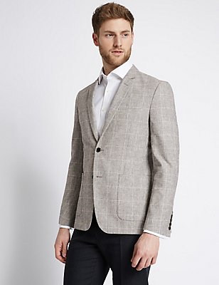 Cotton Blend Checked Jacket, GREY MIX, catlanding