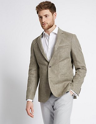 Linen Mix Tailored Fit Jacket, SAGE GREEN, catlanding