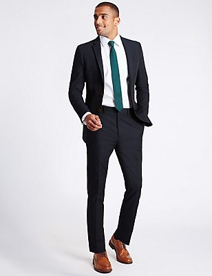 Pure Cotton Slim Fit Jacket, NAVY, catlanding