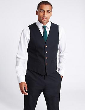 Gilet de costume 100% coton texturé, BLEU MARINE, catlanding