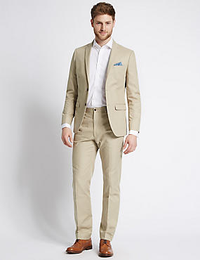 Pure Cotton Textured Tailored Fit Jacket, NEUTRAL, catlanding