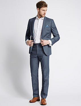 Pure Cotton Textured Tailored Fit Jacket, DARK BLUE DENIM, catlanding