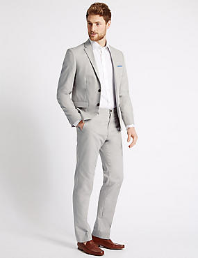 Pure Cotton Textured Tailored Fit Jacket, LIGHT GREY, catlanding