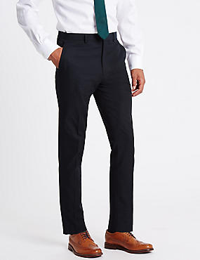 Pantalon slim 100% coton texturé, BLEU MARINE, catlanding