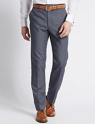 Pure Cotton Textured Tailored Fit Trousers, DARK BLUE DENIM, catlanding