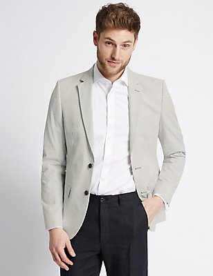 Striped Pure Cotton Tailored Fit Jacket, NAVY/WHITE, catlanding
