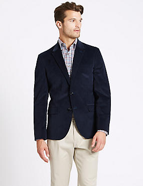 Cotton Rich 2 Button Jacket, DARK BLUE, catlanding
