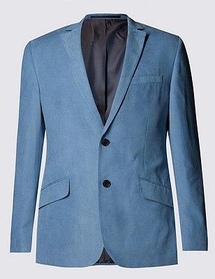 Faux Suede Notch Lapel 2 Button Jacket, BLUE, catlanding