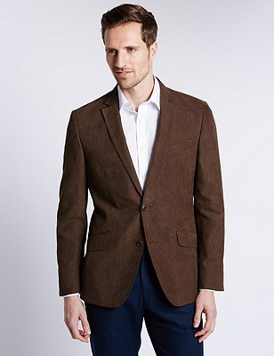 Faux Suede Notch Lapel 2 Button Jacket, BROWN, catlanding