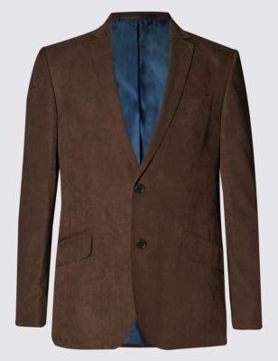 Пиджак из искусственной замши на 2 пуговицах