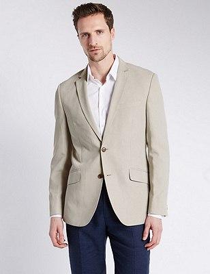 Faux Suede Notch Lapel 2 Button Jacket, NEUTRAL, catlanding