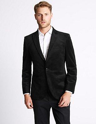 Charcoal Velvet Jacket, BLACK, catlanding