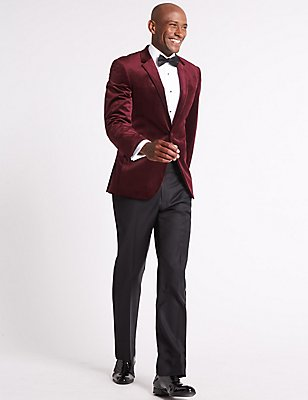 Tailored Fit Single Breasted Velvet Jacket, BURGUNDY, catlanding