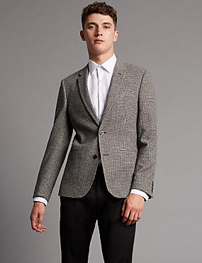 Textured 2 Button Jacket, BLACK/WHITE, catlanding