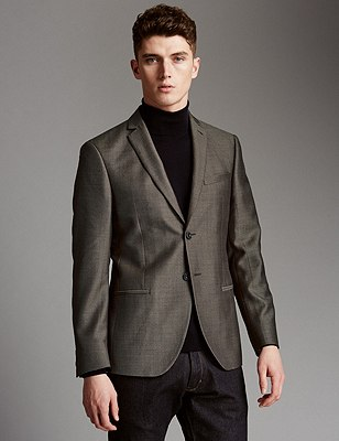 Pure Wool Tailored Fit Weave Textured Jacket, BROWN, catlanding