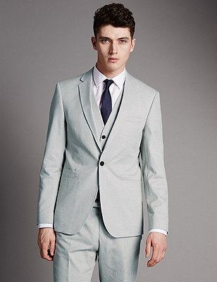 Pure Cotton Tailored Fit 1 Button Jacket with Buttonsafe™, LIGHT GREY, catlanding