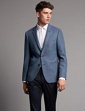 Pure Wool Tailored Fit Jacket, SLATE BLUE, catlanding