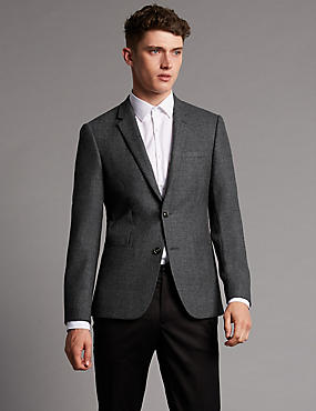 Pure Wool Tailored Fit 2 Button Jacket, GREY, catlanding