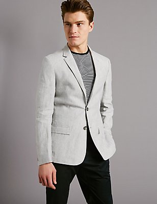 Grey Pure Linen Slim Fit Jacket, LIGHT GREY, catlanding