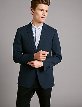 Gingham Cotton Tailored Jacket with Stretch, NAVY, catlanding