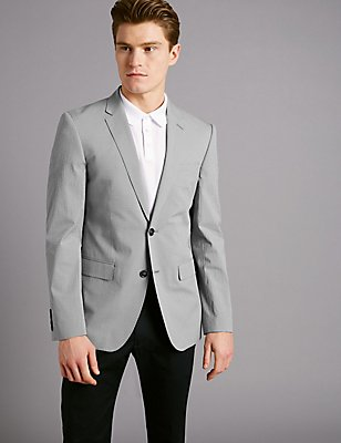 Gingham Cotton Tailored Jacket with Stretch, GREY, catlanding