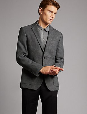 Wool Blend Tailored Fit 2 Button Jacket, CHARCOAL MIX, catlanding