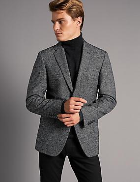 Wool Rich Single Breasted Jacket, BLACK MIX, catlanding
