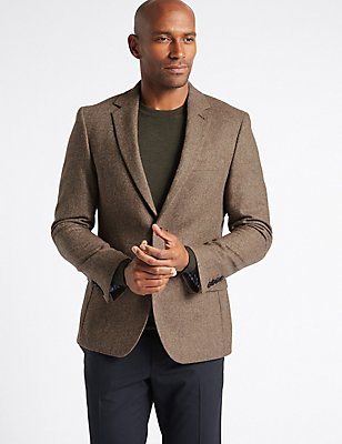 Pure Lambswool Wool Herringbone Jacket, LIGHT BROWN, catlanding
