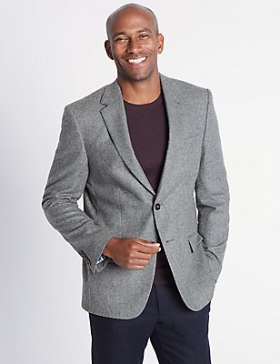 Pure Lambswool Herringbone Jacket, LIGHT GREY, catlanding