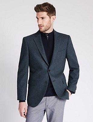 Pure Cashmere 2 Button Semi Plain Jacket, DARK BLUE, catlanding